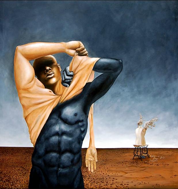 "Mark Brown : Transformation 2, huile sur toile, 2007, 53"" x 48″, coll. part."